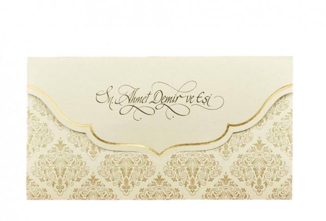 Zarf Şeklinde Davetiye İki katlamalı davetiyemiz zarf şeklini almaktadır,toplam 1 parçadan oluşmaktadır. 9x17 cm. ebadındadır.